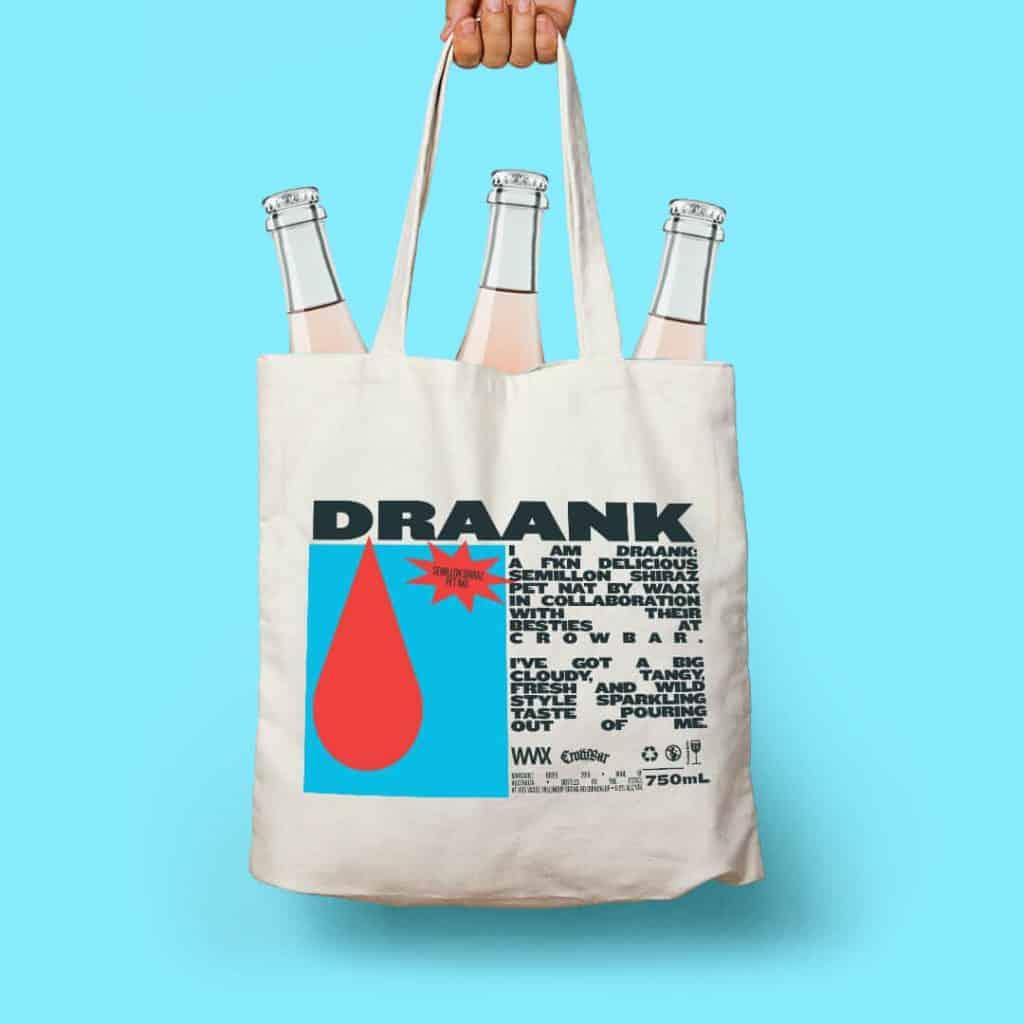 Waax Draank Crowbar Tote bag 3 bottles pet nat